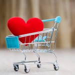 Red heart in the shopping cart